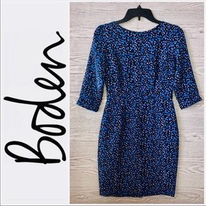 Boden | Structured Blue Floral Dots Dress (4)